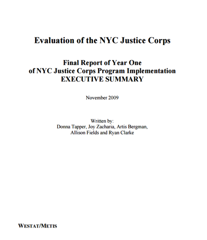 Evaluation of the NYC Justice Corps: Final Report of Year One Implementation