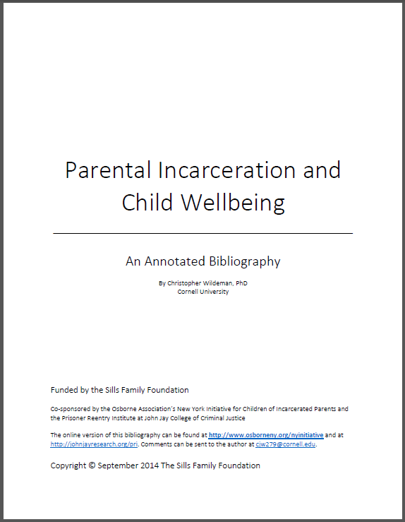 Parental Incarceration and Child Wellbeing – An Annotated Bibliography